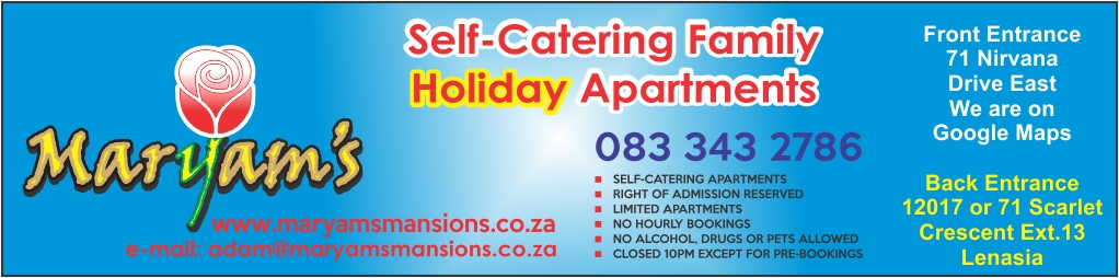 Maryam's Mansions – Lenasia Self Catering  Accommodation